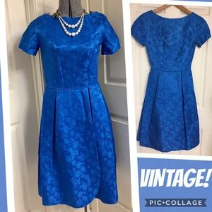 VINTAGE brocade BLUE dress! 💙